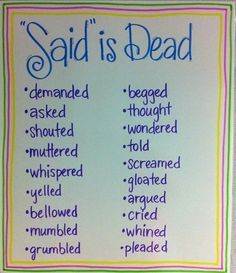 """""""Said"""" is Dead!  I think I like this better than my trash can words!"""
