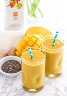 This Golden Girl Turmeric Mango Smoothie is about as anti-inflammatory as it gets! Packed with turmeric, fresh ginger, chia seeds, plant-based protein and sea buckthorn puree, then blended with coconut milk it's a bit like a spiced piña colada that your body will love you for. Vegan + gluten-free. Recipe via Eat Spin Run Repeat / @eatspinrunrpt