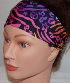 Fun Stylish Neon Accected Spandex Headband-Covered Elastic Backing with Black Fabric-Workout-Running-Yoga