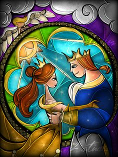 Beauty and the Beast [stained glass] by Mandie Michel
