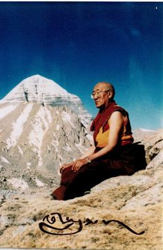 Kyabje Bokar Rinpoche meditating in front of Mt. Kailash