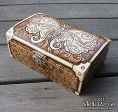 Steampunk Butterfly Box pyrography woodburning by MotherSpoon