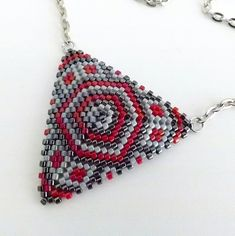 Peyote Triangle Pendant / Beaded Necklace in Red by MadeByKatarina