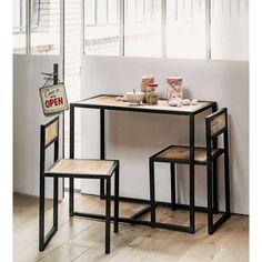 Table de salle à manger + 2 chaises en manguier et métal L 90 cm