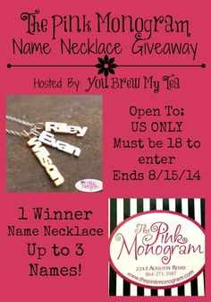 The Pink Monogram Name Necklace Giveaway! Ends 8/15