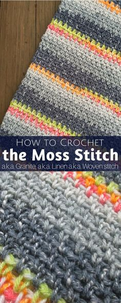How to Crochet the Moss Stitch (Written and Video Tutorial) http://hearthookhome.com/how-to-crochet-the-moss-stitch/?utm_campaign=coschedule&utm_source=pinterest&utm_medium=Ashlea%20K%20-%20Heart%2C%20Hook%2C%20Home&utm_content=How%20to%20Crochet%20the%20Moss%20Stitch%20%28Written%20and%20Video%20Tutorial%29