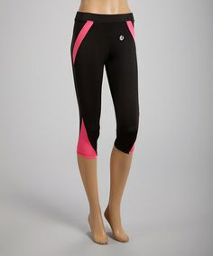Loving this Black & Pink Angle-Stripe Capri Leggings on #zulily! #zulilyfinds $11.99
