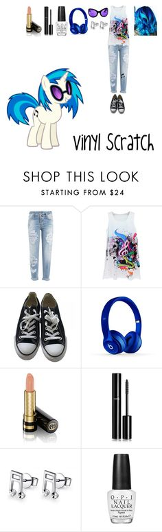 """My Little Pony: Vinyl Scratch"" by mysterious-emo-girl ❤ liked on Polyvore featuring Dsquared2, My Little Pony, Converse, Beats by Dr. Dre, Gucci, Chanel, MaBelle and OPI"