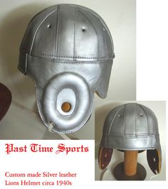 SILVER LEATHER FOOTBALL HELMET