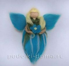 """Doll """"Fairy Forget-Me-Not"""" - felting, master class Christmas Decorations, Christmas Ornaments, Holiday Decor, Woodland Creatures, Diy Doll, Master Class, Needle Felting, Smurfs, Projects To Try"""