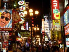 道頓堀通り, Avenida Dotonbori, Dotonbori Avenue en Osaka, Japon,