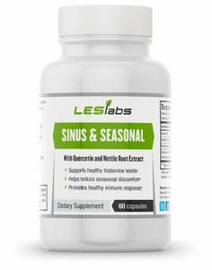 NATURAL Sinus Health & Seasonal Discomfort Formula by LES Labs (60 Vegetarian Capsules with Quercetin, Bromelain, Nettle Root and Butterbur Extr...