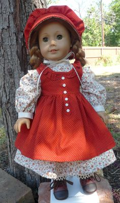 "18"" Doll Clothes Late 1800's Prairie Style Dress, Pinafore and Bonnet in Fall Colors-- Fits American Girl Kirsten, Marie Grace, Cecile, Addy"