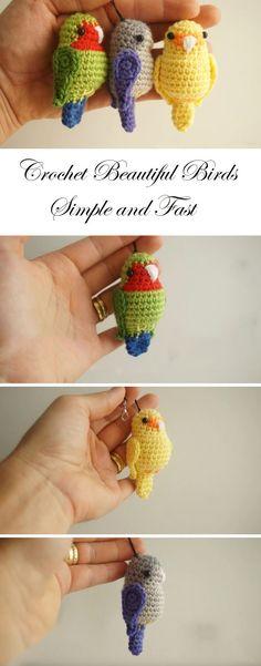 Crochet Amigurumi Ideas Cute Birds Crochet Tutorial and Pattern Crochet Birds, Cute Crochet, Crochet Animals, Crochet Crafts, Crochet Dolls, Yarn Crafts, Crochet Flowers, Crochet Projects, Knit Crochet