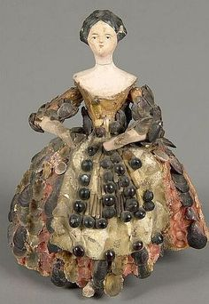Shell Doll doll 1860.--  In the 1840s, Women's Magazines offered instructions in…