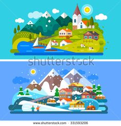 Nice Alps landscapes. Mountain and Lake views: chapel, boats on a lake, cows roaming on  the alpine meadows, snow mountains, snowboarding people, alpine village, Stock vector illustration flat set.
