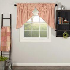 Sawyer Mill Red Ticking Stripe Prairie Swag Curtains – Lange General Store