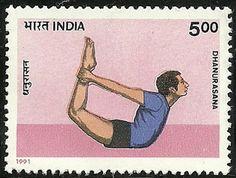 Indian Postage Stamp – 5 rupee  ~ Dhanurasana, Bow Pose .... #yoga #yogahistory #stamp #vintagestamp #om Pinned from