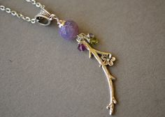 Purple Agate Necklace Cherry Blossom Necklace Boho by harmony5