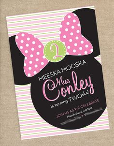 Minnie Mouse Birthday Party Invitation oh gosh! Lilith loves her Mickey mouse clubhouse! This is perfect!