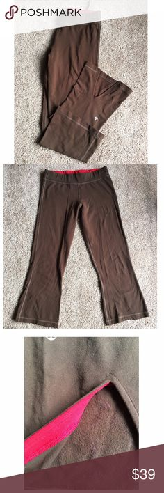 Brown lululemon crops red trim women's sz 6 Lululemon brown capri pants. • women's size 6 • Brown stretch fabric with red trim inside waistband and inside v-hem • Hems are split with small v shape • Reflective lululemon logo on left back leg • Please check measurements to ensure a proper fit Size tag has been removed. Please check measurements. Lots of pilling in the tush area and inside the garment.  Measurements (taken with garment laying flat):  Leg Opening:  9 inches Waist: 16 inches…
