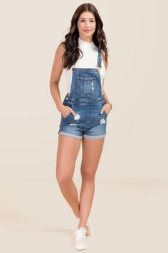 202219a666d0 Distressed Denim Overall Shorts in 2019