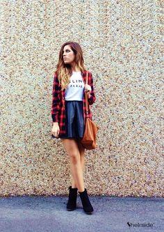 black pleather skater skirt + white tee + flannel