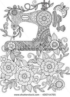 Decorative vintage sewing machine, with ornaments and flowers. Coloring for adults and meditation. Vector elements: