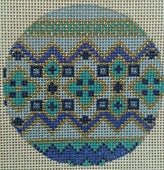 Beautiful Hand Painted HP Round Ornament Needlepoint Canvas 18 mesh Geometric