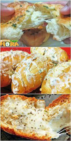 Pão de Alho Para Churrasco #PãodeAlhoParaChurrasco #PãodeAlho #Receitatodahora Barbacoa, Pan Relleno, Pasta, Empanadas, I Foods, Carne, Mashed Potatoes, Bacon, Recipies