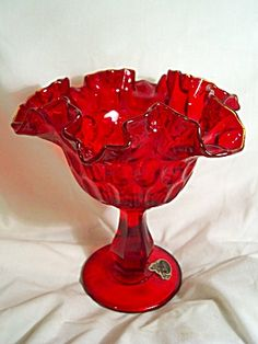 Fenton ruby red glass compote, or candy dish...WANT