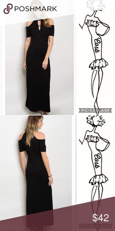 Sneak Peek...Maxi Black Dress w/Cold Shoulders Simple, Sophisticated, Casual or Dressy Black Maxi Dress. Dress has cold shoulders w/short sleeves. Front neckline has one small straps below choker. Wear w/flat sandals for maxi casual dress. Put on a high wedge or heel for dressy black dress. So Versatile! Cosb Dresses Maxi