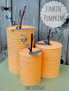 Turn old cans into adorable fall decor perfect for the transition between Halloween and Thanksgiving. Transform empty tin cans into adorable fall decor for your home that will last through Halloween and beyond. Adornos Halloween, Manualidades Halloween, Theme Halloween, Halloween Crafts, Fall Halloween, Halloween Decorations, Halloween Yard Art, Craft Decorations, Pumpkin Decorations