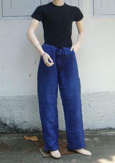 100 percent hemp pants in light blue for Men by Poonsripoonsri, $84.00