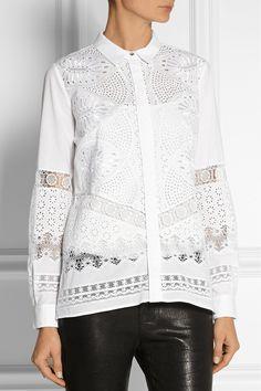 Roberto Cavalli|Broderie anglaise cotton shirt|NET-A-PORTER.COM
