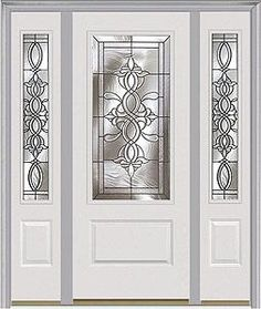 We are the largest distributor of wood, steel and fiberglass exterior, interior, storm and patio doors and door products in the US today! Window Glass Design, Window Grill Design Modern, Door And Window Design, Front Door Design, Etched Glass Door, Stained Glass Door, Leaded Glass Windows, Entry Door With Sidelights, Entry Doors