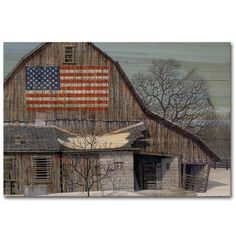 Found it at Wayfair - Old Barn Old Glory Painting Print on Wood Old Abandoned Houses, Old Houses, Farm Houses, Country Barns, Country Living, Country Life, Country Houses, Barn Pictures, Old Mansions