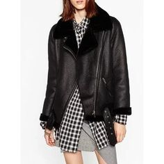 Black Lapel Faux Shearling Biker Jacket (665 NOK) ❤ liked on Polyvore featuring outerwear, jackets, sherpa jacket, faux-shearling jacket, moto jacket, faux shearling biker jacket and lapel jacket