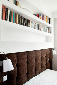 small bedroom - i like the ideas of having a neat rack above the headboard