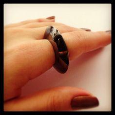Samsara Ring with black rhodium