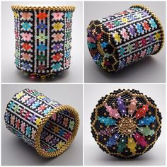 Quilt pattern - beaded basket - collectible - bead art - seed beads - beadweaving - bead woven basket