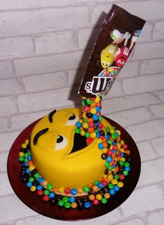 Gravity defying cake M&Ms -my first
