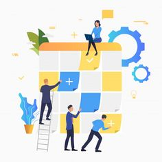 Flat Illustration, Graphic Design Illustration, Work Task, Decorating With Pictures, Displaying Collections, Vector Photo, Commercial Design, Motion Design, Teamwork