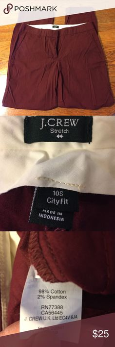 Burgundy j crew pants Burgundy j crew city chinos, size 10 short, washed and never worn. J. Crew Pants Trousers
