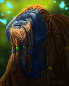 Aaron Blaise / Had fun creating this guy during my Facebook Live Stream today.  #orangutan #apes #photoshop