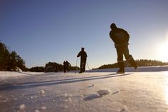 Nordic skating in Linnansaari National Park. Savonlinna, Finland.