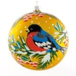 Bullfinch Christmas Ball Ornament (golden background)