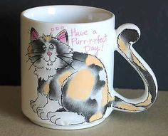 Have a Purrrrfect Day Cat Kitty Mug Tail Handle Japan FREE SH Кружки и чашки Cat Mug, Tea Pots, Coffee Mugs, Kitty, Handle, Japan, Cats, Tableware, Glasses