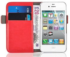 Luxury Edition | Red Leather Wallet Case Cover for iPhone 4 and iPhone 4s with a movie stand, screen protector included JAMMYLIZARD http://www.amazon.com/dp/B00DI6C1F0/ref=cm_sw_r_pi_dp_Jd5.ub0YYG8MZ
