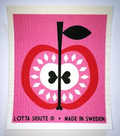 Swedish Dishcloth - APPLE Pink & Red -- Awesome products selected by Anna Churchill